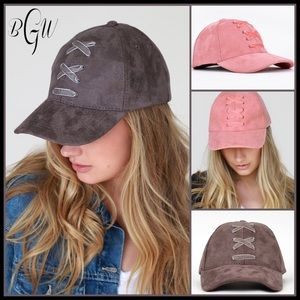 Accessories - 🆕Just In Chunky Lace Up Faux Suede Baseball Cap